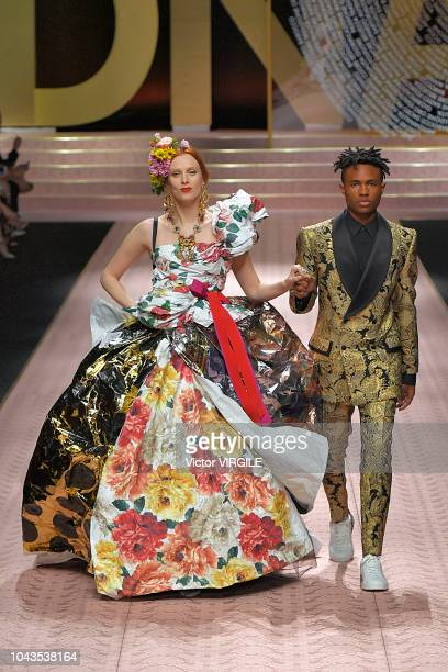 Karen Elson and Kailand Morris walk the runway at the Dolce Gabbana Ready to Wear fashion show during Milan Fashion Week Spring/Summer 2019 on...
