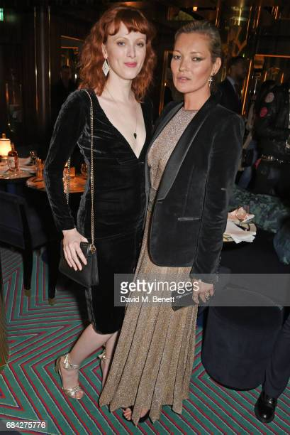 Karen Elson and Kate Moss attend a private dinner celebrating the launch of the KATE MOSS X ARA VARTANIAN collection at Isabel on May 17 2017 in...