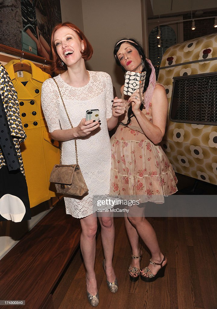 Karen Elson and Sarah Sophie Flicker attend the Orla Kiely for Target Preview Party on July 23, 2013 in New York City.