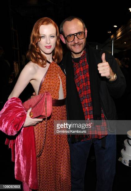 Karen Elson and Terry Richardson attend the Marc Jacobs Fall 2011 Collection at N.Y. State Armory on February 14, 2011 in New York City.