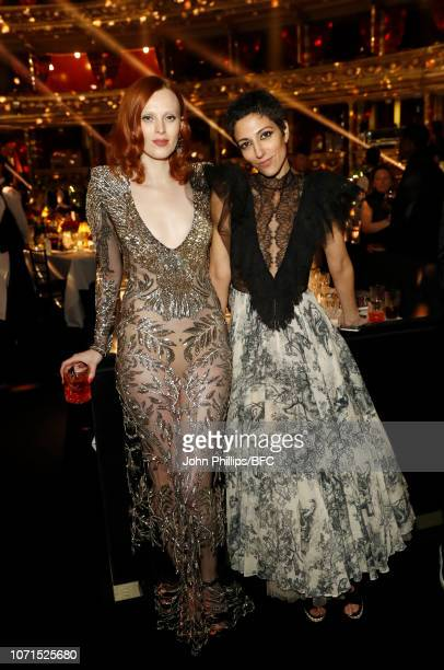 Karen Elson and Yasmin Sewell attend The Fashion Awards 2018 In Partnership With Swarovski at Royal Albert Hall on December 10 2018 in London England
