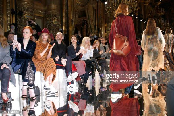 Karen Elson Arizona Muse Husband of Stella Alasdhair Willis Kristin Scott Thomas Cecile Cassel Isabelle Huppert and Arnaud Valois attend the Stella...