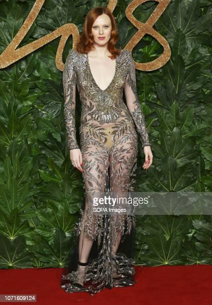 Karen Elson arrives at The Fashion Awards 2018 In Partnership With Swarovski at the Royal Albert Hall