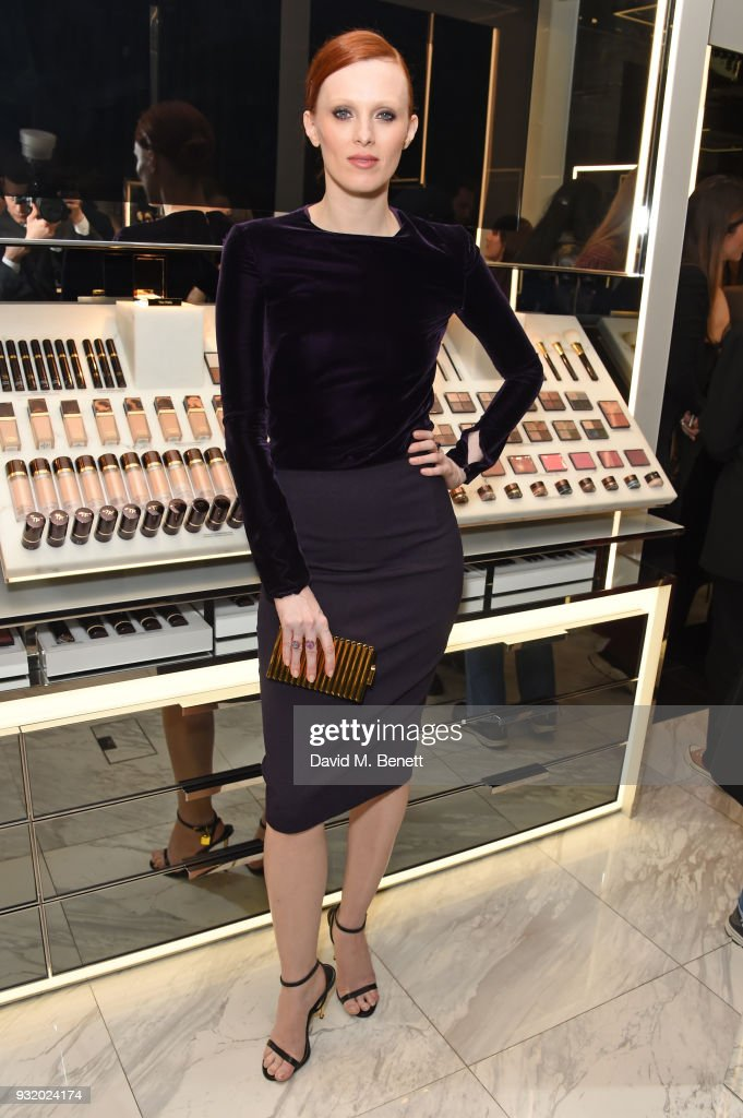 Karen Elson attends a party hosted by Tom Ford Beauty and Dazed to celebrate the launch of Tom Ford Extreme at Tom Ford Store Covent Garden on March 14, 2018 in London, England.