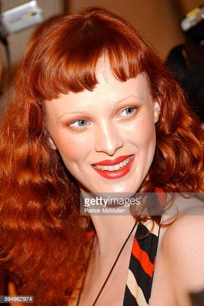 Karen Elson attends Anna Sui Spring 2006 Collection at the Tent at Bryant Park on September 14, 2005 in New York City.