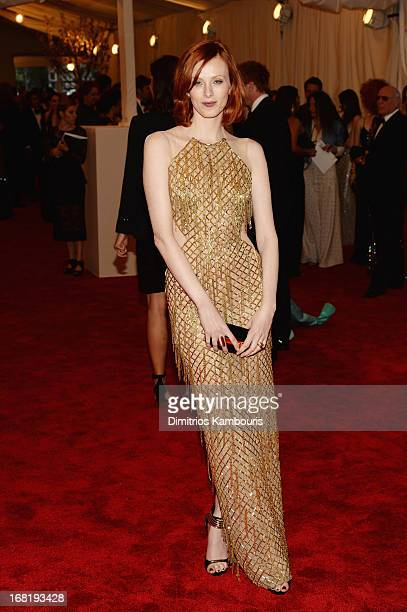 Karen Elson attends the Costume Institute Gala for the PUNK Chaos to Couture exhibition at the Metropolitan Museum of Art on May 6 2013 in New York...
