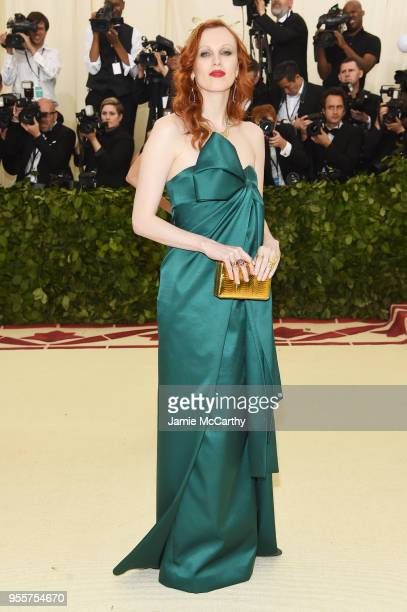 Karen Elson attends the Heavenly Bodies Fashion The Catholic Imagination Costume Institute Gala at The Metropolitan Museum of Art on May 7 2018 in...