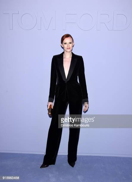 Karen Elson attends the Tom Ford Fall/Winter 2018 Women's Runway Show at the Park Avenue Armory on February 8 2018 in New York City