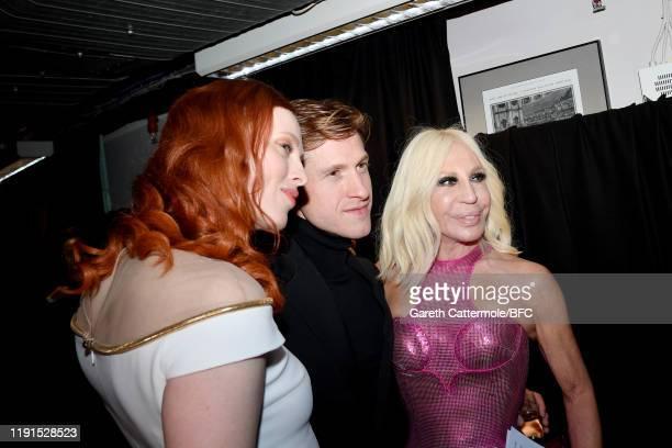 Karen Elson Award winner Daniel Lee for Bottega Veneta and Donatella Versace backstage during The Fashion Awards 2019 held at Royal Albert Hall on...