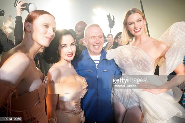 Karen Elson, Dita Von Teese, Jean-Paul Gaultier and Karlie Kloss are seen backstage after walking the runway at the Jean-Paul Gaultier 50th Birthday...