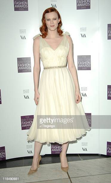 Karen Elson during British Fashion Awards 2005 Arrivals at Victoria Albert Museum in London Great Britain