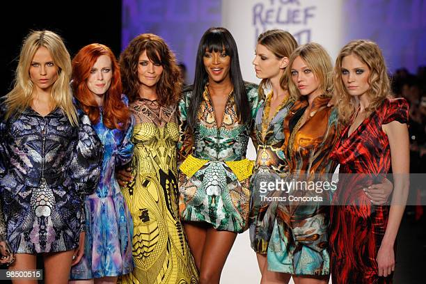 Karen Elson Helena Christensen and Naomi Campbell walks the runway at Naomi Campbell's Fashion For Relief Haiti NYC 2010 Fashion Show during...