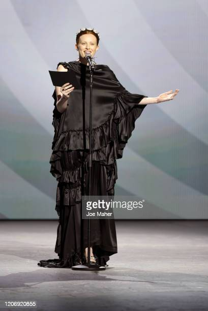 Karen Elson hosts the International Woolmark Prize 2020 during London Fashion Week February 2020 at Ambika P3 on February 17 2020 in London England