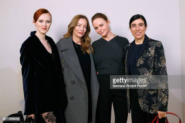 Karen Elson Lucie de la Falaise Stylist Stella McCartney and Blanca Li pose after the Stella McCartney show as part of the Paris Fashion Week...