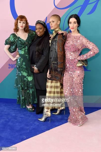 Karen Elson Pat McGrath Adwoa Aboah and Sarah Sophie Flicker attend the 2017 CFDA Fashion Awards at Hammerstein Ballroom on June 5 2017 in New York...