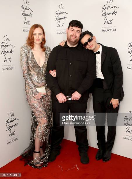 Karen Elson Richard Quinn winner of the British Emerging Talent Womenswear award and Matthew Healy in the winners room during The Fashion Awards 2018...
