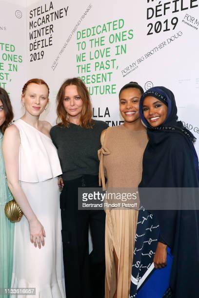 Karen Elson Stella McCartney Tina Kunakey and Halima Aden pose after the Stella McCartney show as part of the Paris Fashion Week Womenswear...