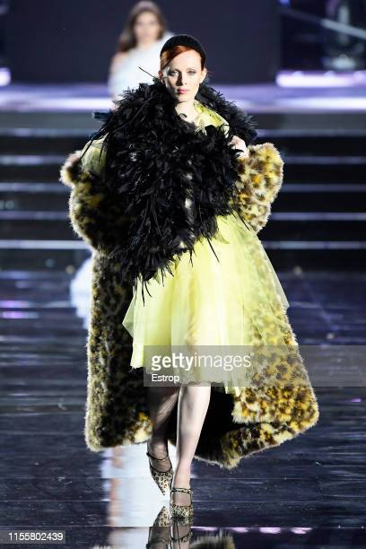 Karen Elson walks the CR Runway x LuisaViaRoma at Piazzale Michelangelo during the Pitti Immagine Uomo 96 on June 13 2019 in Florence Italy