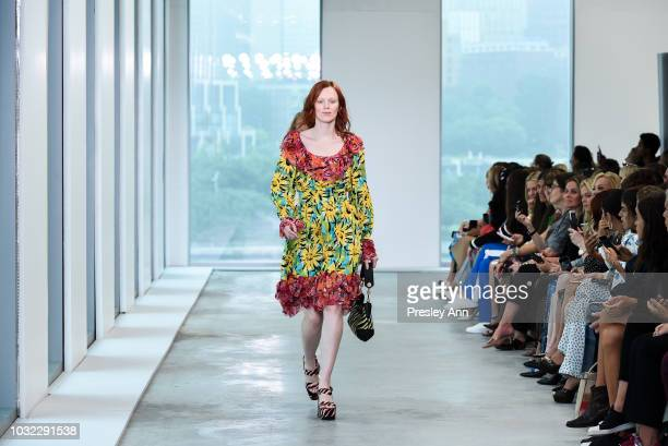 Karen Elson walks the runway at Michael Kors September 2018 New York Fashion Week at Pier 17 on September 12 2018 in New York City