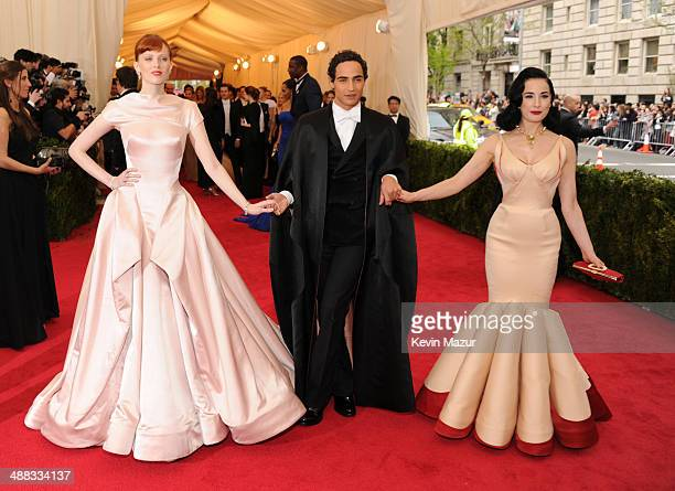 "Karen Elson, Zac Posen and Dita Von Teese attend the ""Charles James: Beyond Fashion"" Costume Institute Gala at the Metropolitan Museum of Art on May..."