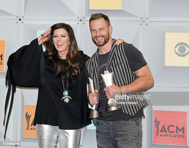Karen Fairchild and Jimi Westbrook of Little Big Town pose in the press room during the 51st Academy of Country Music Awards at MGM Grand Garden...