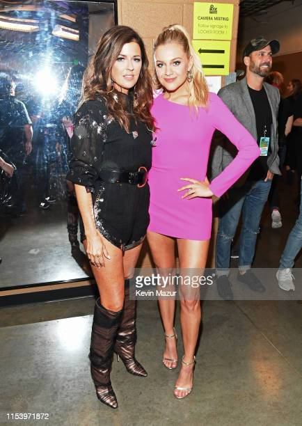 Karen Fairchild and Kelsea Ballerini backstage at the 2019 CMT Music Awards at Bridgestone Arena on June 05 2019 in Nashville Tennessee