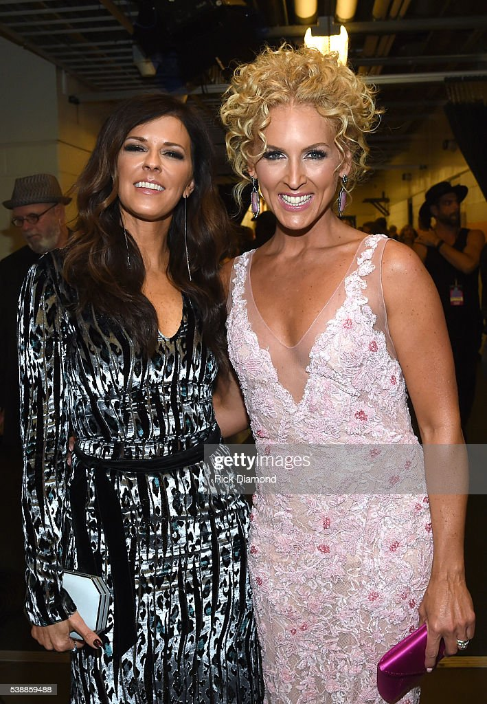 Karen Fairchild and Kimberly Schlapman of Little Big Town attend the 2016 CMT Music awards at the Bridgestone Arena on June 8, 2016 in Nashville, Tennessee.