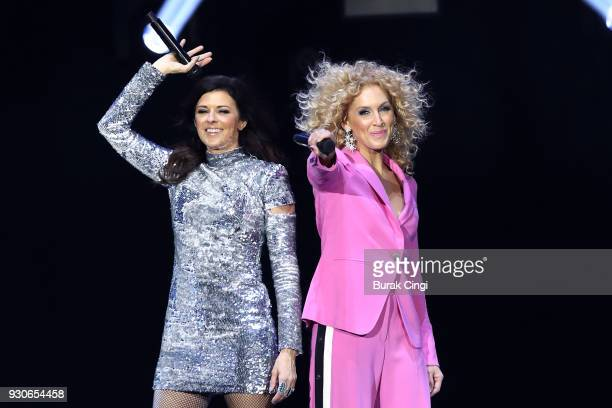 Karen Fairchild and Kimberly Schlapman of Little Big Town perform on day 3 of C2C Country to Country festival at The O2 Arena on March 11 2018 in...