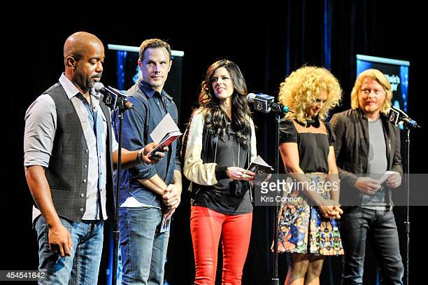 Karen Fairchild Darius Rucker Kimberly Schlapman Jimi Westbrook and Phillip Sweet speak during the 48th Annual CMA Awards Nominees Announcement at...