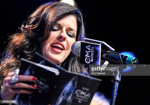 Karen Fairchild speaks during the 48th Annual CMA Awards Nominees Announcement at Best Buy Theater on September 3 2014 in New York City