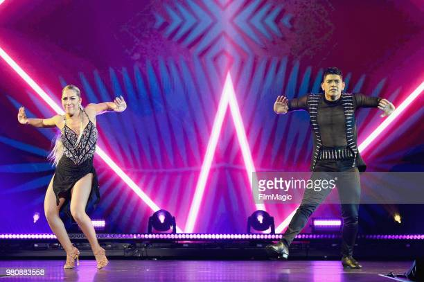 Karen Forcano and Ricardo Vega appear at YouTube OnStage during VidCon at the Anaheim Convention Center Arena on June 21 2018 in Anaheim California