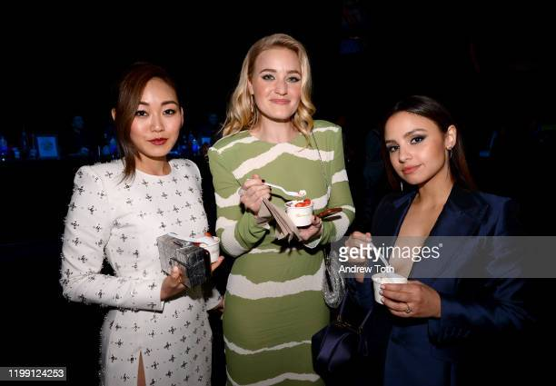 Karen Fukuhara, AJ Michalka and Aimee Carrero pose with Pinkberry at the 25th Annual Critics' Choice Awards on January 12, 2020 in Santa Monica,...