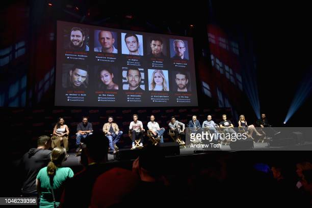 Karen Fukuhara Laz Alonso Karl Urban Jack Quaid Antony Starr Simon Pegg Eric Kripke and Erin Moriarty speak onstage at the Amazon's The Boys panel...