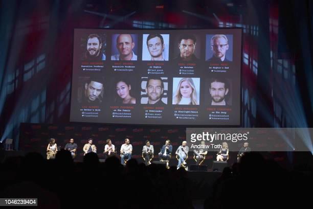 Karen Fukuhara Laz Alonso Karl Urban Jack Quaid Antony Starr Simon Pegg Eric Kripke and Erin Moriarty speak onstage at the Amazon's The Boys panel...