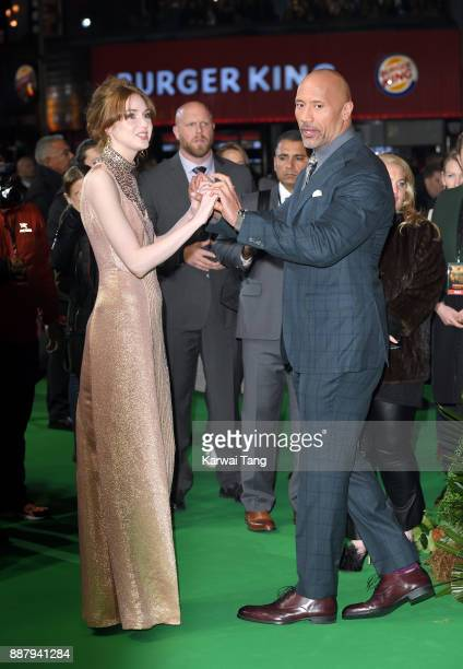 Karen Gillan and Dwayne Johnson attend the UK premiere of 'Jumanji Welcome To The Jungle' at Vue West End on December 7 2017 in London England