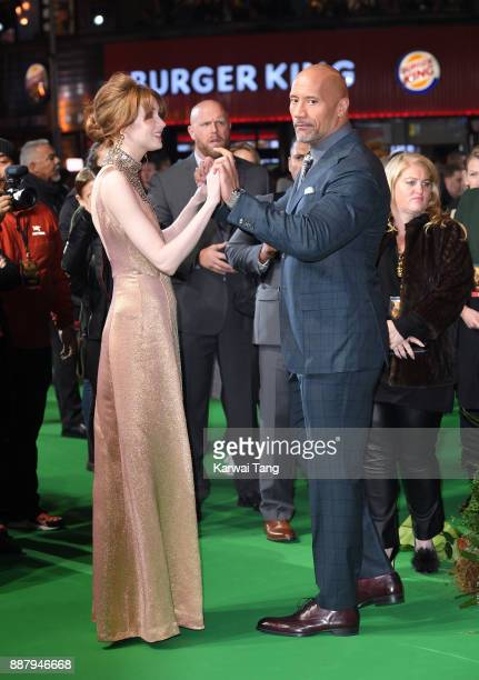 Karen Gillan and Dwayne Johnson attend the UK premiere of Jumanji Welcome To The Jungle at Vue West End on December 7 2017 in London England