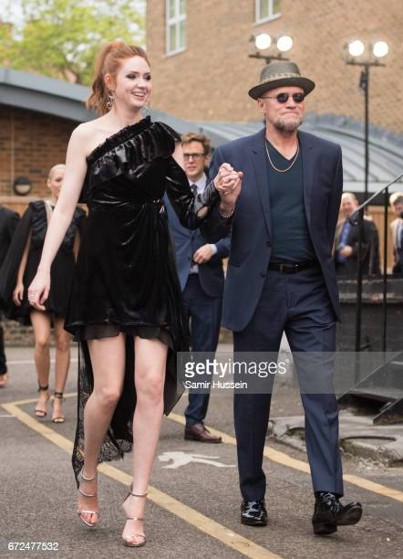 Karen Gillan and Michael Rooker attend the European Gala Screening of Guardians of the Galaxy Vol 2 at Eventim Apollo on April 24 2017 in London...