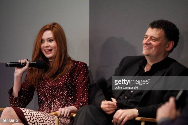 Karen Gillan and Steven Moffat visit the Apple Store Soho with the cast of 'Doctor Who' on April 13 2010 in New York City