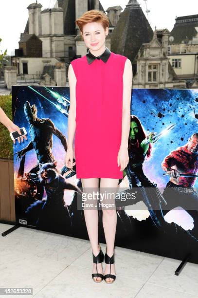 """Karen Gillan attends a photocall for """"Guardians Of The Galaxy"""" at The Corinthia Hotel on July 25, 2014 in London, England."""