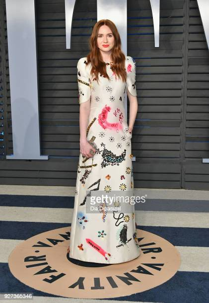 Karen Gillan attends the 2018 Vanity Fair Oscar Party hosted by Radhika Jones at Wallis Annenberg Center for the Performing Arts on March 4 2018 in...