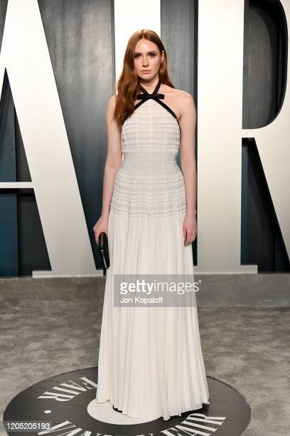 Karen Gillan attends the 2020 Vanity Fair Oscar Party hosted by Radhika Jones at Wallis Annenberg Center for the Performing Arts on February 09 2020...