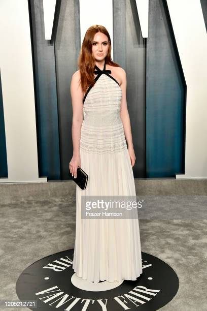 Karen Gillan attends the 2020 Vanity Fair Oscar Party hosted by Radhika Jones at Wallis Annenberg Center for the Performing Arts on February 09, 2020...