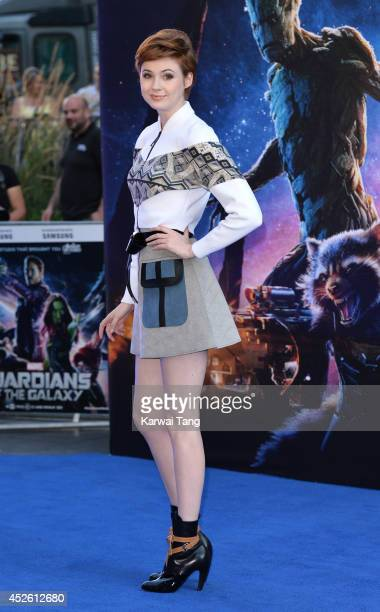 Karen Gillan attends the European Premiere of 'Guardians of the Galaxy' at Empire Leicester Square on July 24 2014 in London England