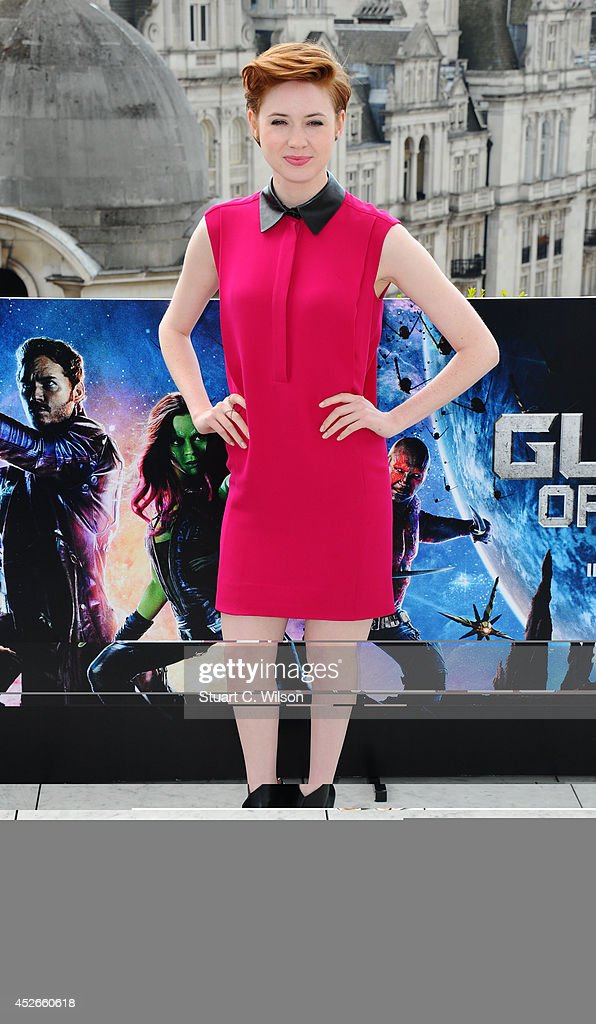 Karen Gillan attends the 'Guardians of the Galaxy' photocall on July 25, 2014 in London, England.