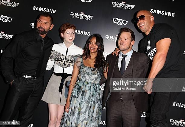 "Karen Gillan, David Bautista, Zoe Saldana, Chris Pratt and Vin Diesel attend the UK Premiere of ""Guardians of the Galaxy"" at Empire Leicester Square..."