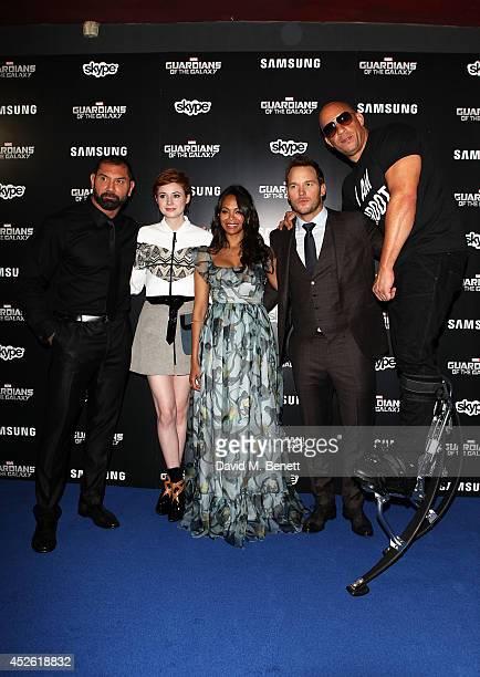 Karen Gillan David Bautista Zoe Saldana Chris Pratt and Vin Diesel attend the UK Premiere of Guardians of the Galaxy at Empire Leicester Square on...