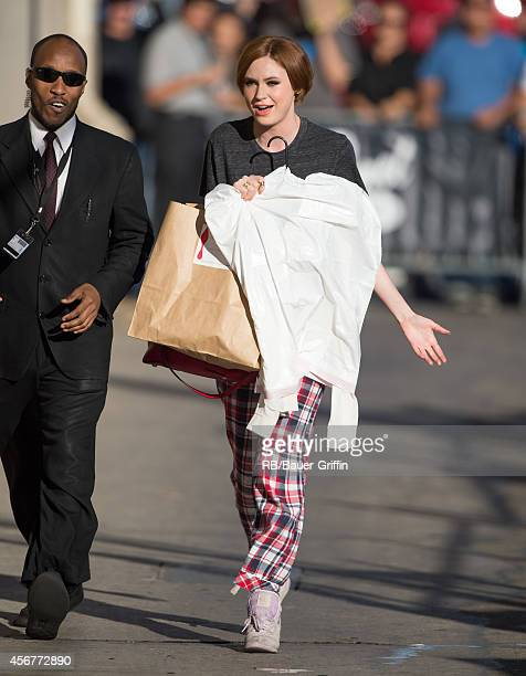 Karen Gillan is seen at 'Jimmy Kimmel Live' on October 06 2014 in Los Angeles California
