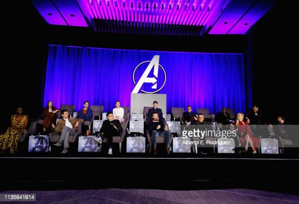 Karen Gillan Paul Rudd Scarlett Johansson President of Marvel Studios/Producer Kevin Feige Robert Downey Jr Don Cheadle and Chris Hemsworth Danai...