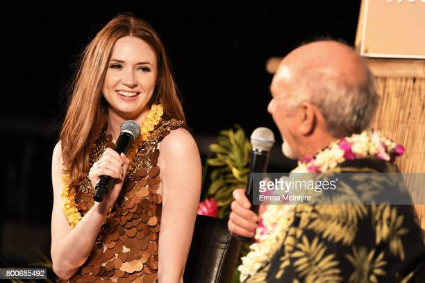 Karen Gillan recipient of the Rising Star Award speaks during the 'Celestial Cinema' on day four of the 2017 Maui Film Festival at Wailea on June 24...