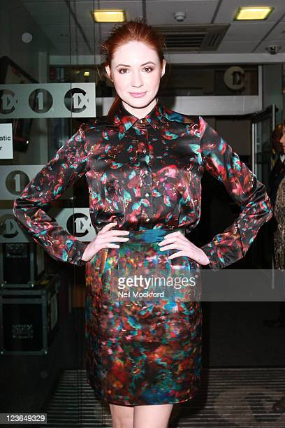 Karen Gillan sighted arriving at BBC Radio One on November 8 2010 in London England